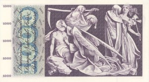 The obverse of the Swiss 1000-franc note, showing the Grim Reaper coming to collect the rent.